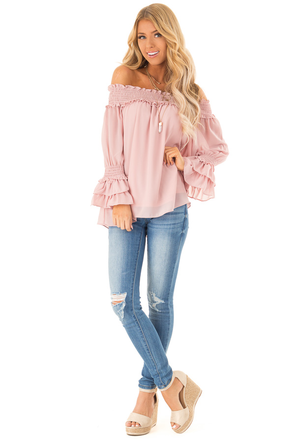 Dusty Blush Off the Shoulder Top with Smocked Detail front full body