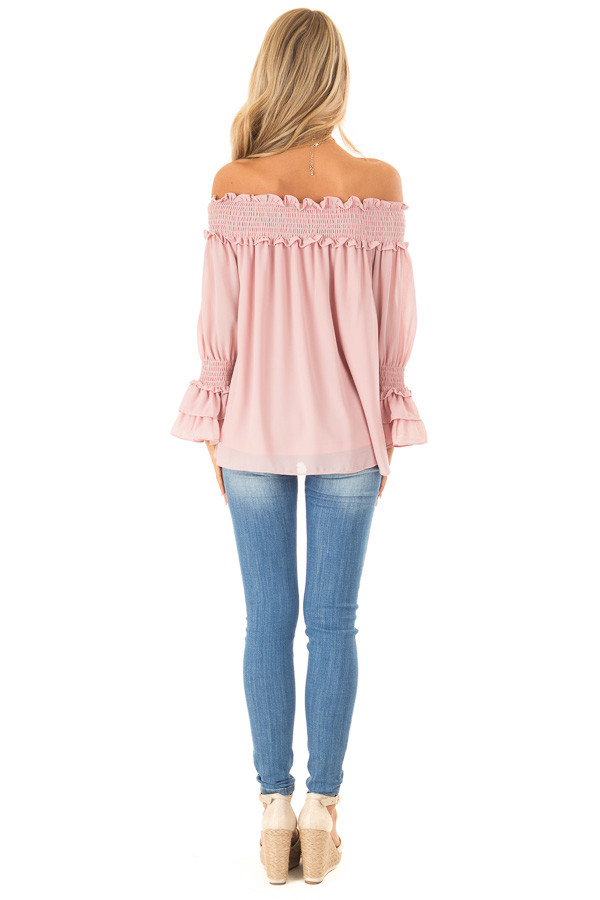 Dusty Blush Off the Shoulder Top with Smocked Detail back full body
