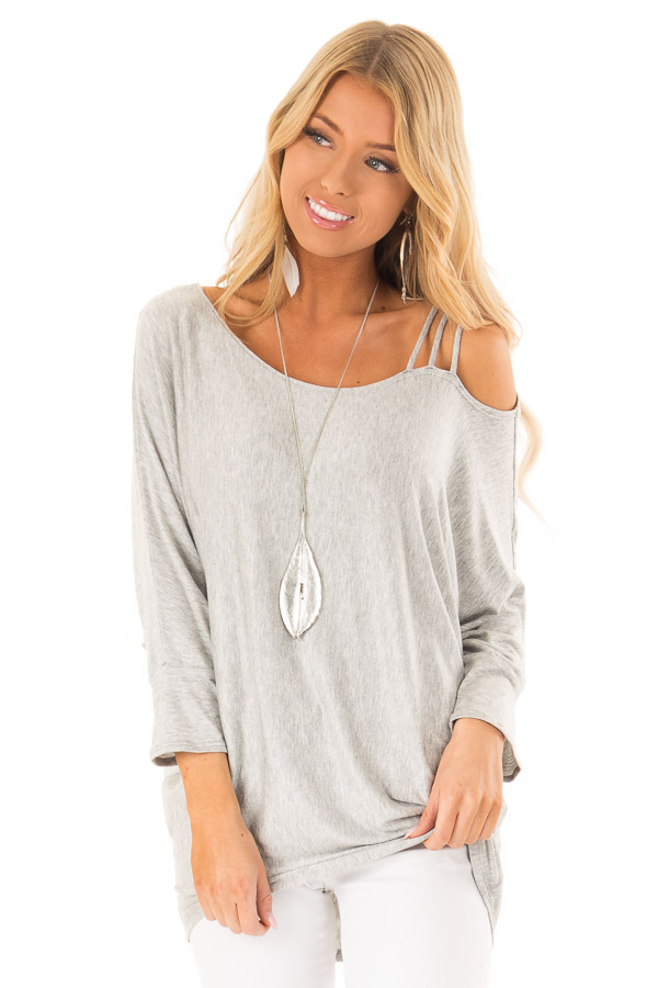 Heather Grey Long Dolman Sleeve Top with One Cold Shoulder front close up