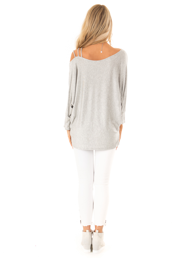 Heather Grey Long Dolman Sleeve Top with One Cold Shoulder back full body