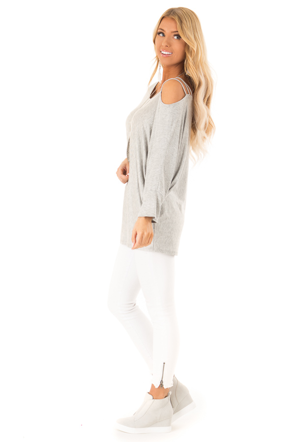 Heather Grey Long Dolman Sleeve Top with One Cold Shoulder side full body