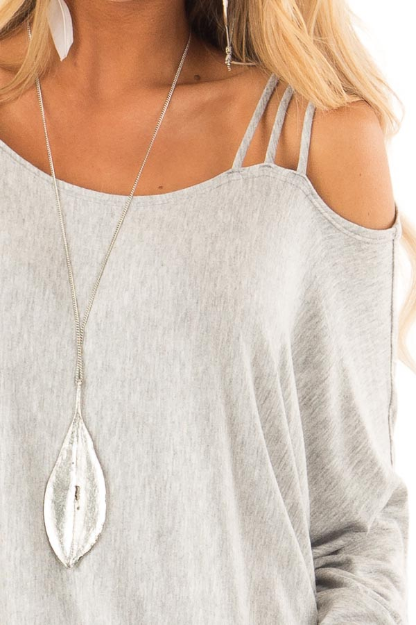 Heather Grey Long Dolman Sleeve Top with One Cold Shoulder detail