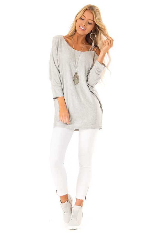 Heather Grey Long Dolman Sleeve Top with One Cold Shoulder front full body