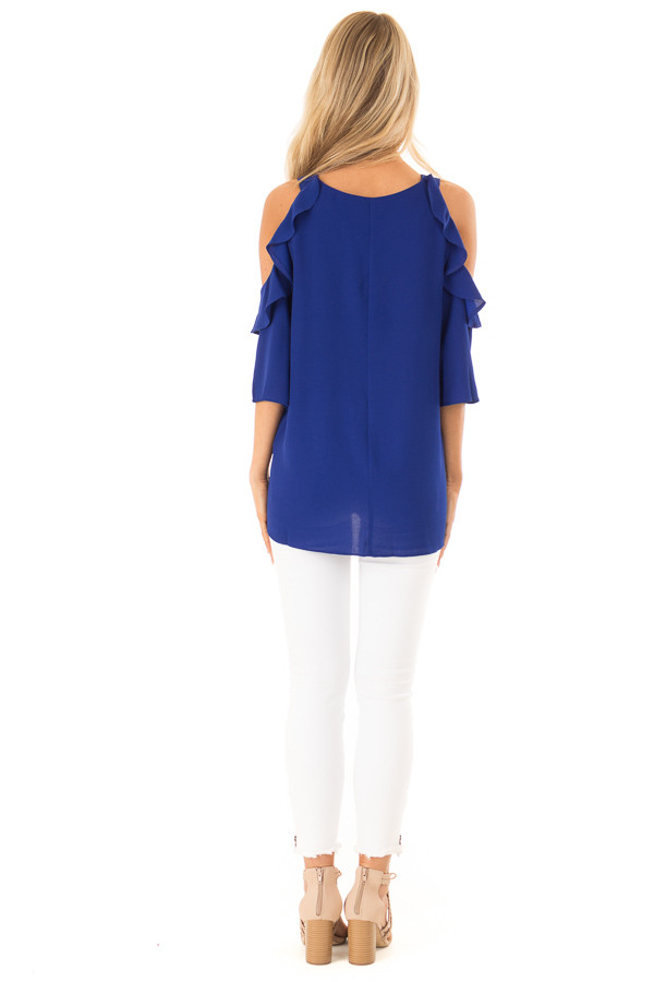 Deep Blue Cold Shoulder 3/4 Sleeve Top with Ruffle Detail back full body