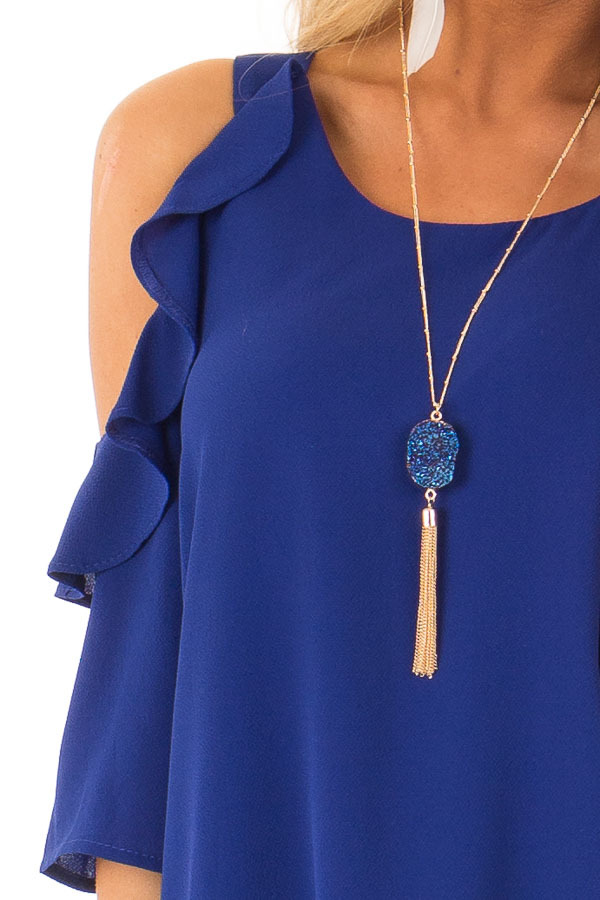 Deep Blue Cold Shoulder 3/4 Sleeve Top with Ruffle Detail detail