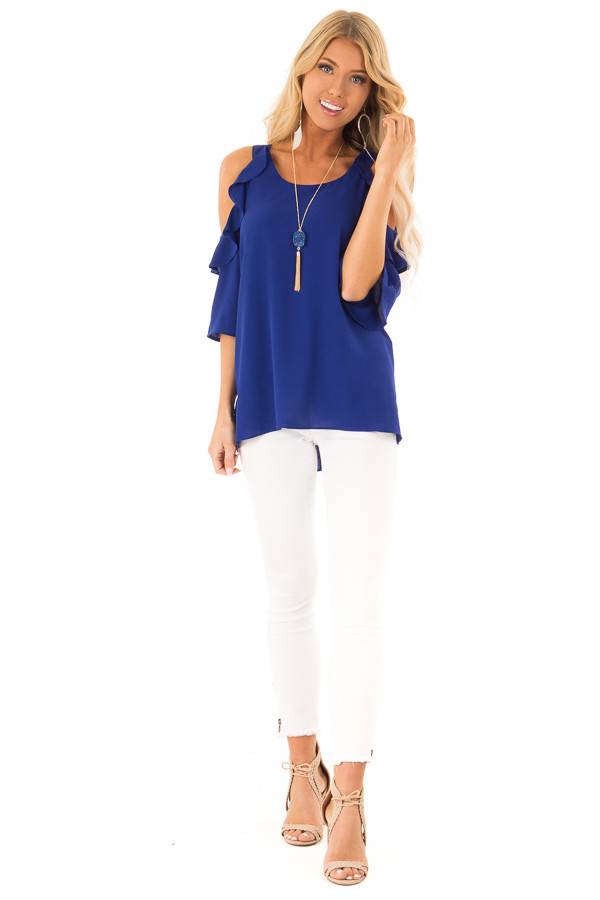 Deep Blue Cold Shoulder 3/4 Sleeve Top with Ruffle Detail front full body