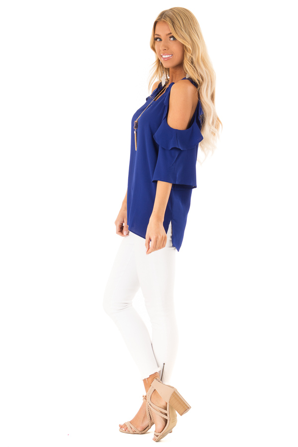 Deep Blue Cold Shoulder 3/4 Sleeve Top with Ruffle Detail side full body