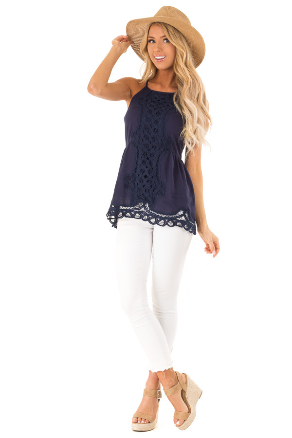 Deep Blue Tank Top with Crochet Front and Scalloped Hem front full body