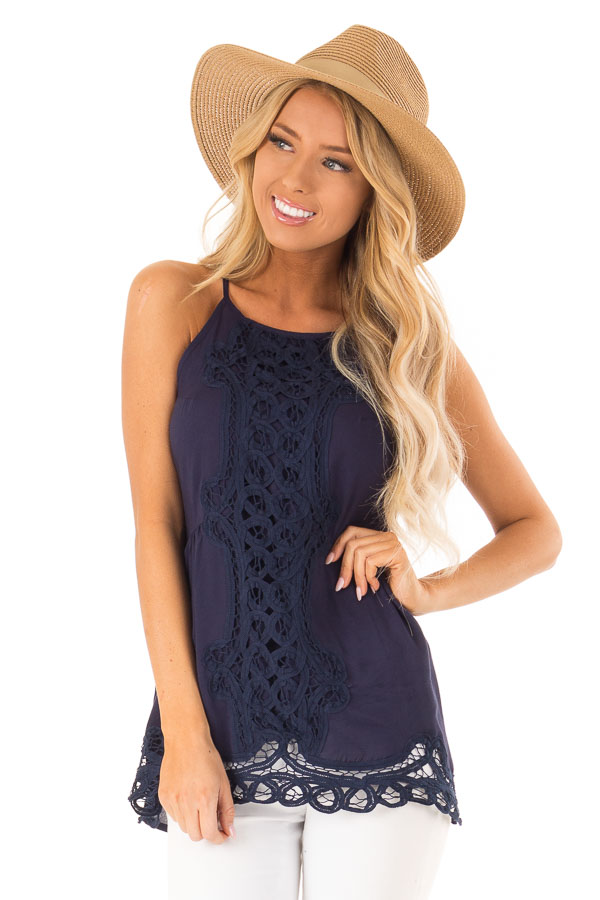 Deep Blue Tank Top with Crochet Front and Scalloped Hem front close up