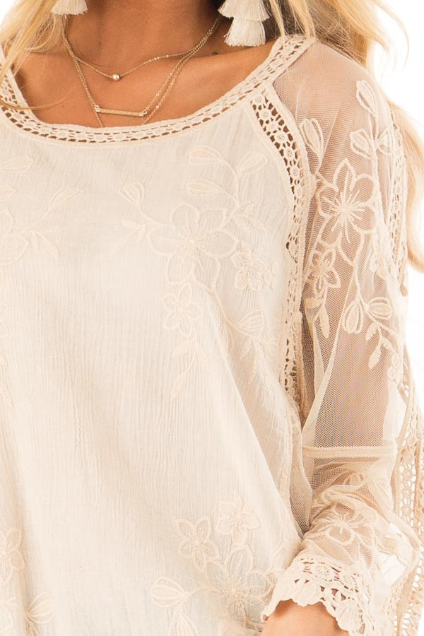 Cream Top with Sheer Long Sleeves and Floral Embroidery detail