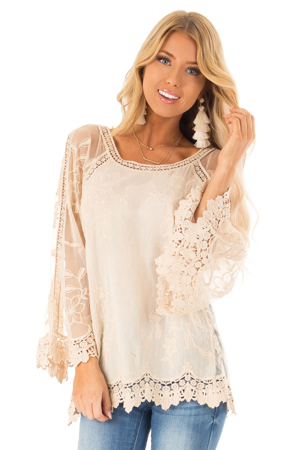 Cream Top with Sheer Long Sleeves and Floral Embroidery front close up
