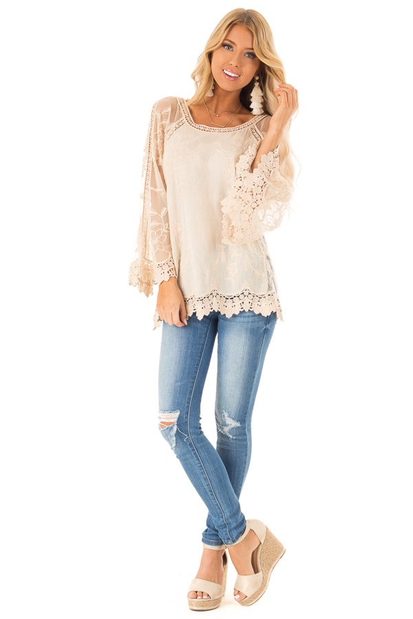 Cream Top with Sheer Long Sleeves and Floral Embroidery front full body