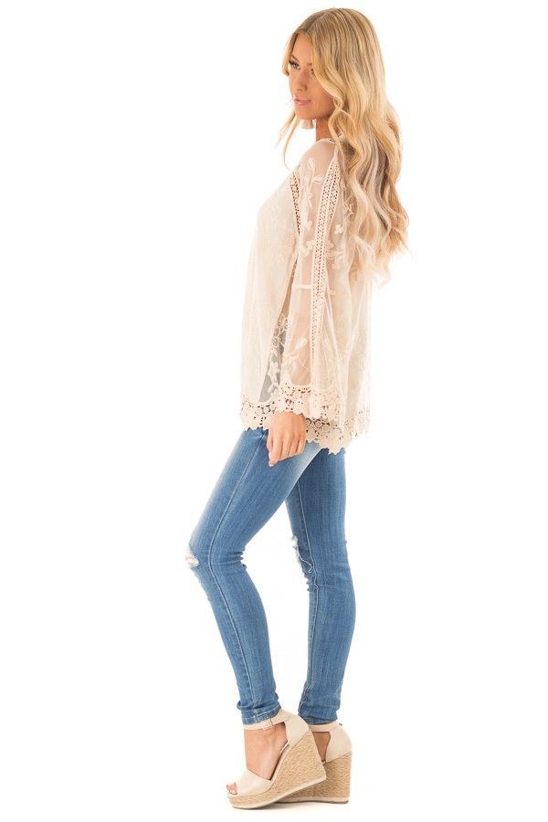 Cream Top with Sheer Long Sleeves and Floral Embroidery side full body