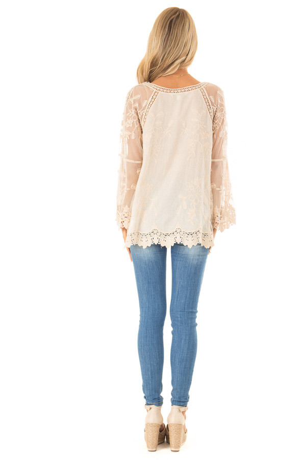 Cream Top with Sheer Long Sleeves and Floral Embroidery back full body