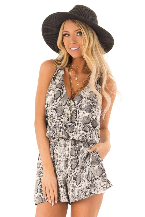 Charcoal and Ivory Snake Print Sleeveless V Neck Romper front close up