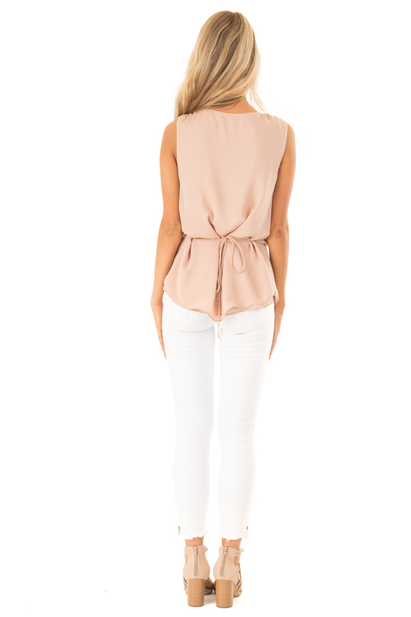 Dusty Blush V Neck Surplice Tank Top with Waist Tie Detail back full body