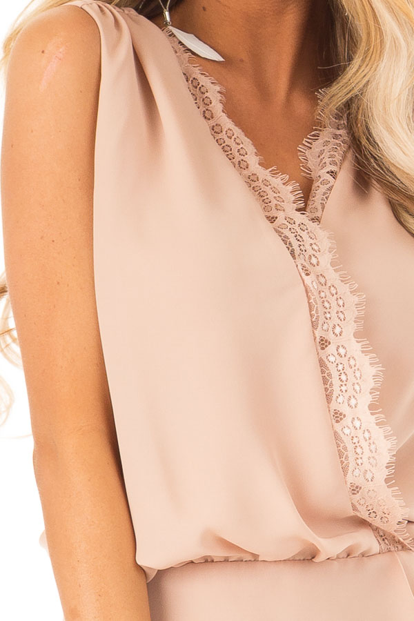 Dusty Blush V Neck Surplice Tank Top with Waist Tie Detail detail