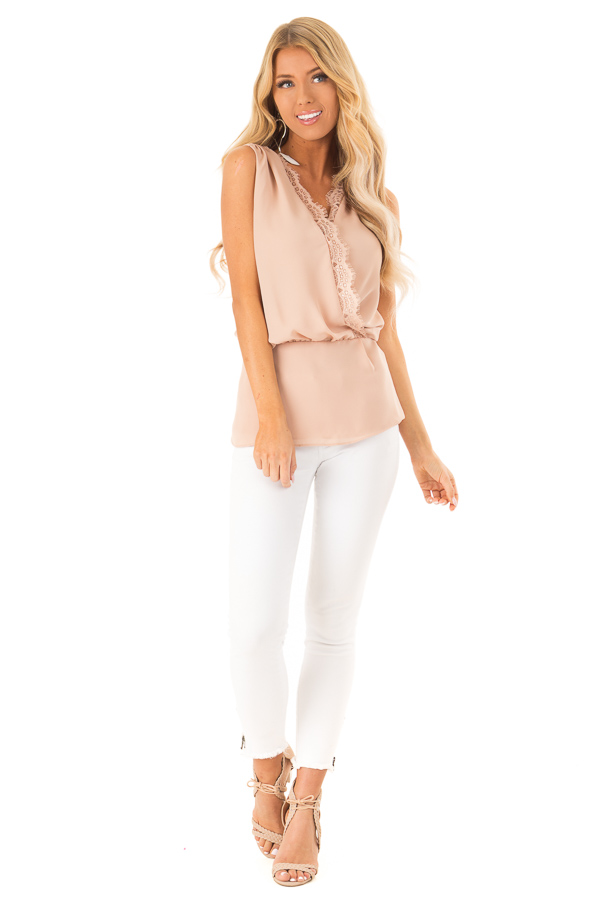 Dusty Blush V Neck Surplice Tank Top with Waist Tie Detail front full body