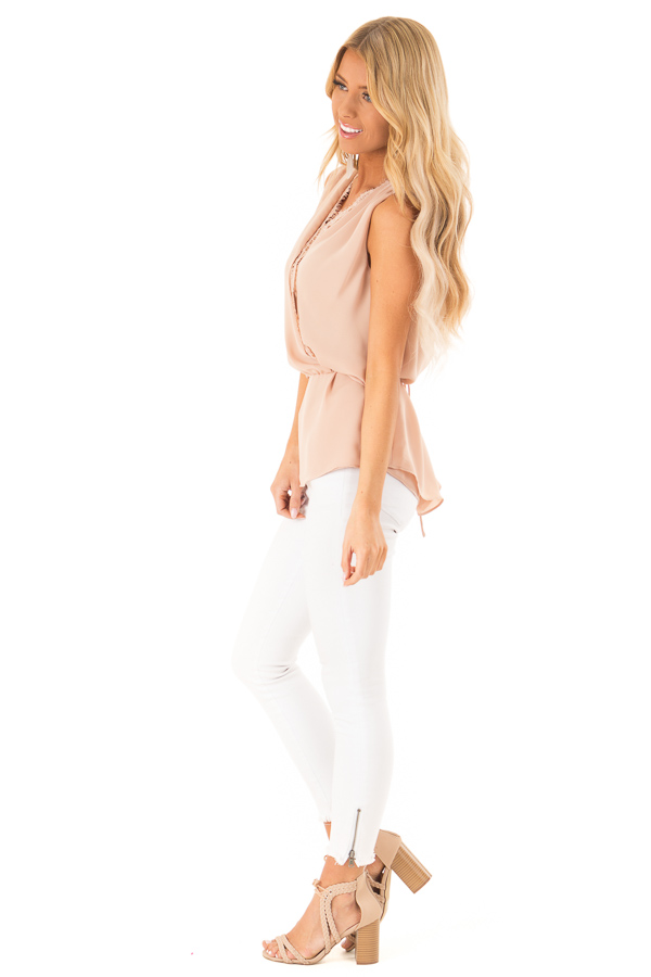 Dusty Blush V Neck Surplice Tank Top with Waist Tie Detail side full body
