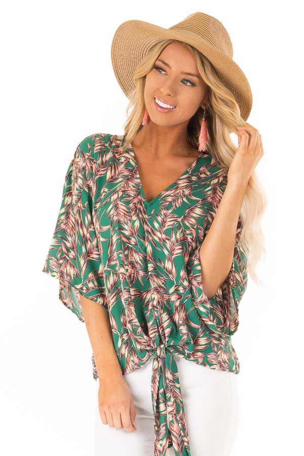 a52819d98a4fa Kelly Green Tropical Print Wide Sleeve Top with Front Tie front close up