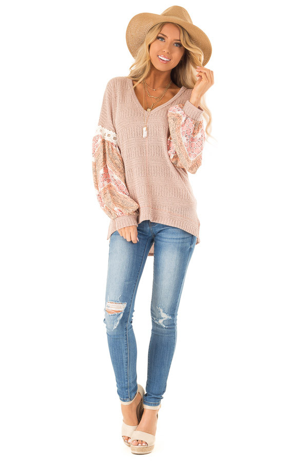 Peach Two Tone V-Neck Top with Printed Puff Sleeves front full body