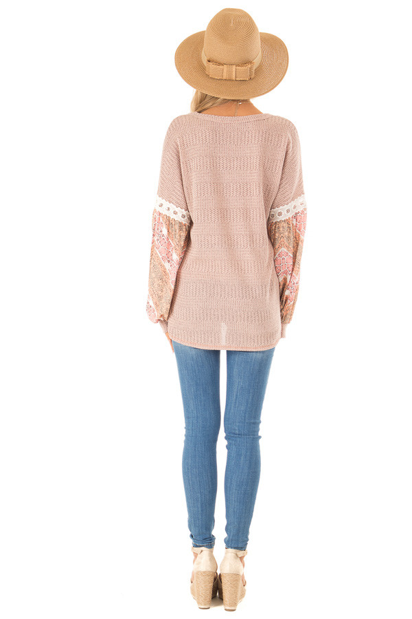 Peach Two Tone V-Neck Top with Printed Puff Sleeves back full body