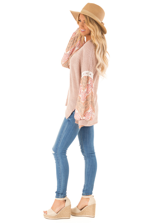 Peach Two Tone V-Neck Top with Printed Puff Sleeves side full body