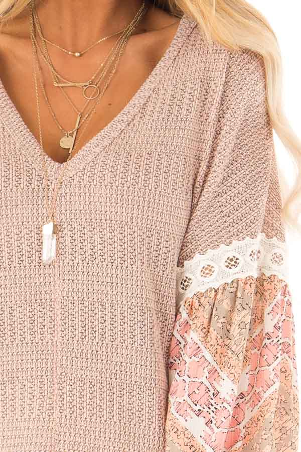 Peach Two Tone V-Neck Top with Printed Puff Sleeves detail