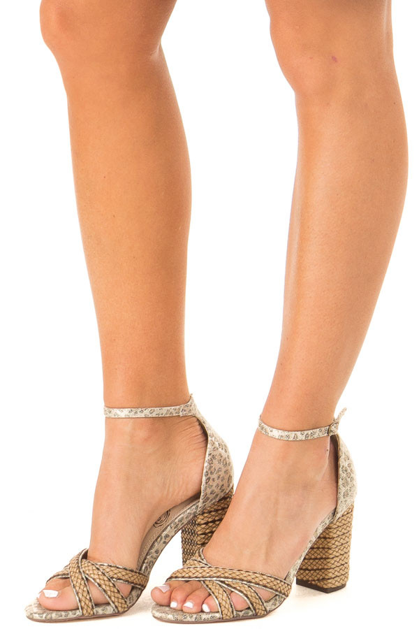Gold Leopard Print Heels with Ankle Strap and Braided Detail side view