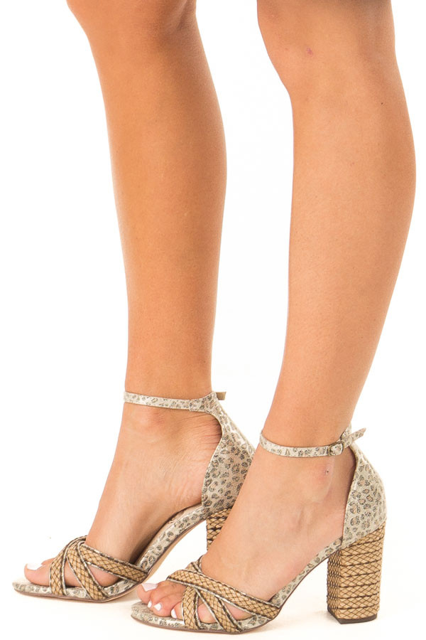 cccb8cfd0 ... Gold Leopard Print Heels with Ankle Strap and Braided Detail side view  ...