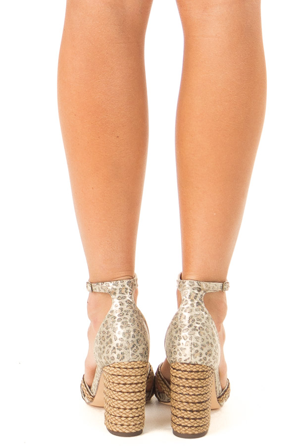 Gold Leopard Print Heels with Ankle Strap and Braided Detail back view