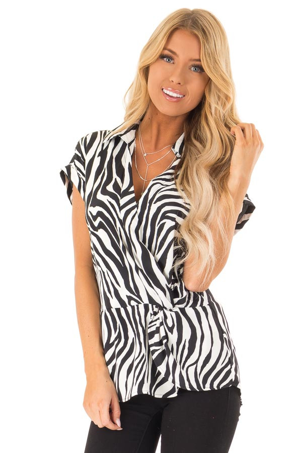 Black and White Zebra Print Collared Short Sleeve Top front close up
