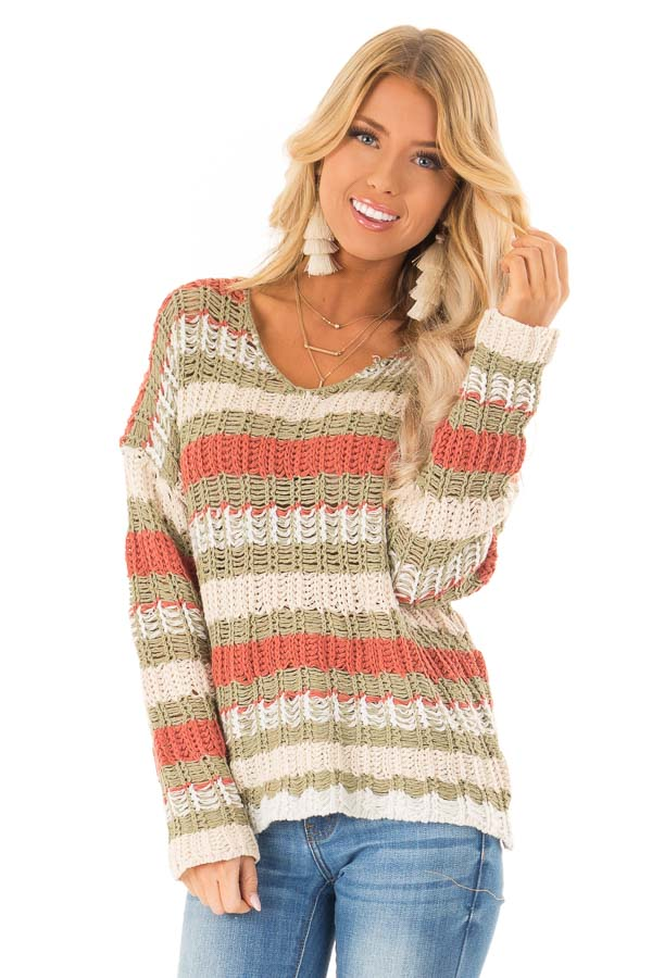 Olive Rust And Ivory Striped Chunky Knit Sweater Lime Lush Boutique
