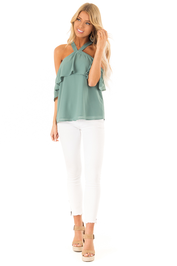 Dusty Jade Layered Cold Shoulder Halter Top with Back Tie front full body