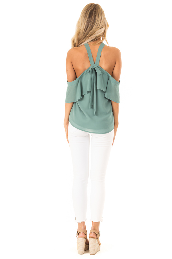 Dusty Jade Layered Cold Shoulder Halter Top with Back Tie back full body