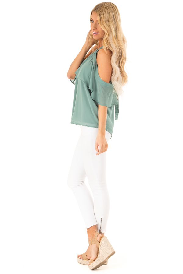 Dusty Jade Layered Cold Shoulder Halter Top with Back Tie side full body