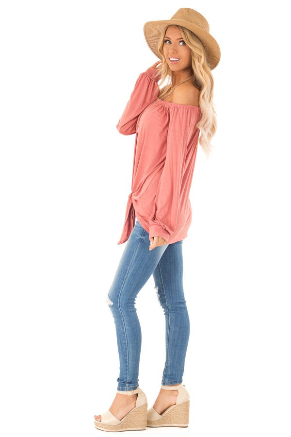 Rust Long Sleeve Off the Shoulder Top with Front Tie side full body