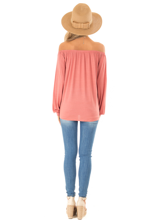 Rust Long Sleeve Off the Shoulder Top with Front Tie back full body