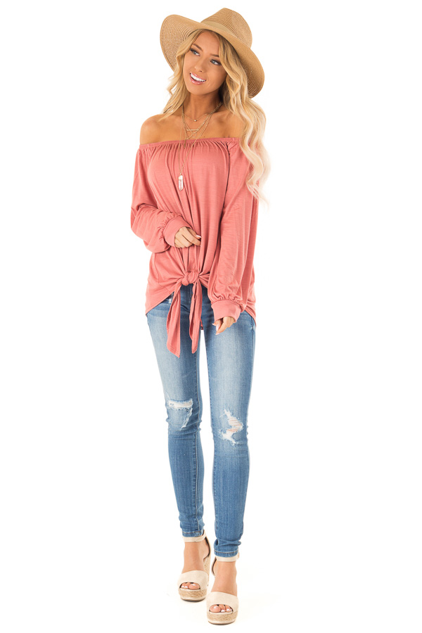 Rust Long Sleeve Off the Shoulder Top with Front Tie front full body