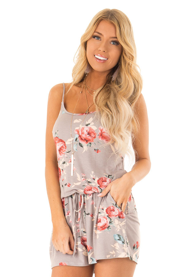 Mocha Floral Spaghetti Strap Romper front close up