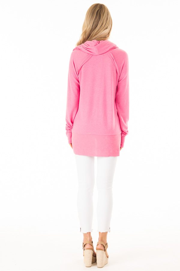 Bubble Gum Pink Soft Cowl Neck Sweater back full body