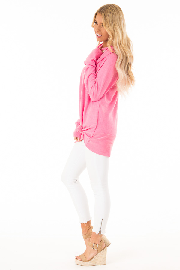 Bubble Gum Pink Soft Cowl Neck Sweater side full body
