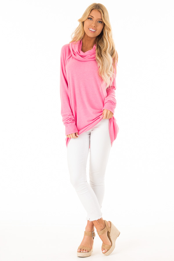 Bubble Gum Pink Soft Cowl Neck Sweater front full body
