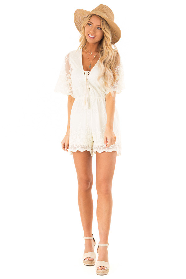 cd0e8e4d1efe ... Cream Short Sleeve Romper with Floral Embroidery Detail front full body  ...