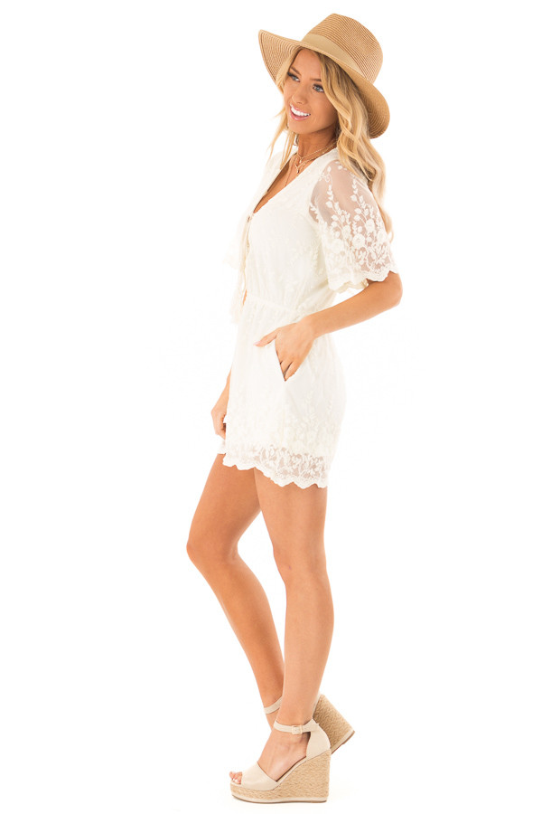 Cream Short Sleeve Romper with Floral Embroidery Detail side full body