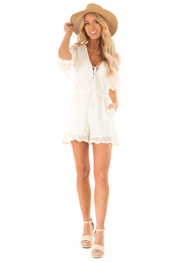 Cream Short Sleeve Romper with Floral Embroidery Detail front full body