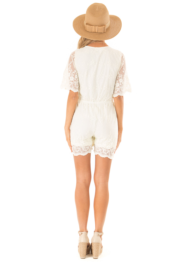 Cream Short Sleeve Romper with Floral Embroidery Detail back full body