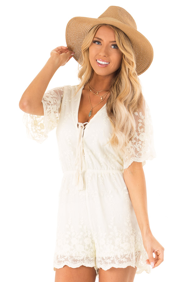 Cream Short Sleeve Romper with Floral Embroidery Detail front close up