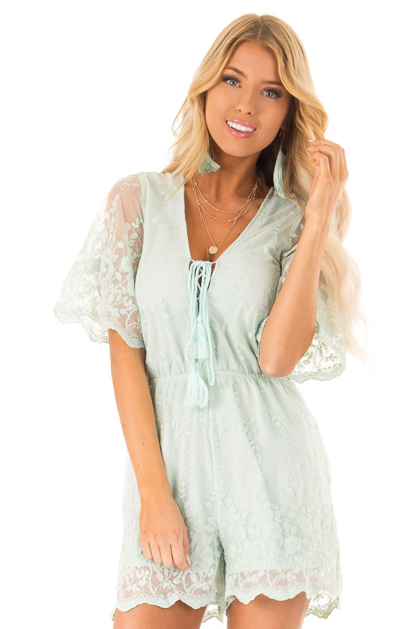8160c80a736c Light Sage Short Sleeve Romper with Floral Embroidery Detail front close up