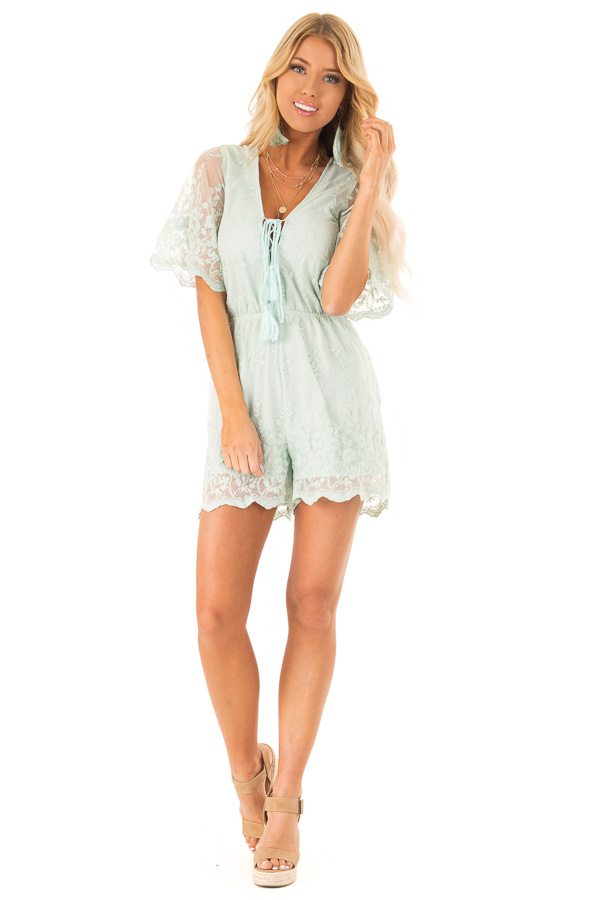 cc63d11ca75a Light Sage Short Sleeve Romper with Floral Embroidery Detail front full  body ...